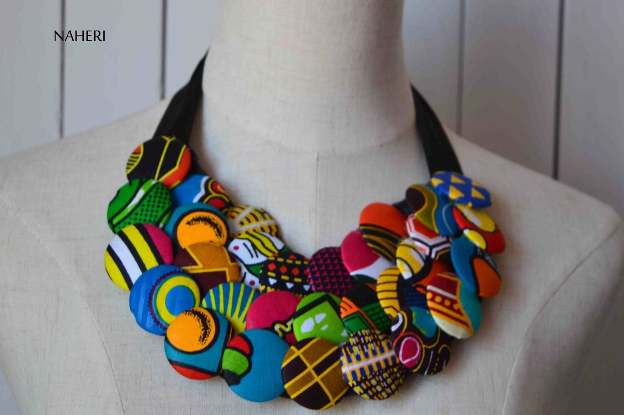 African print fabric bib necklace buttons