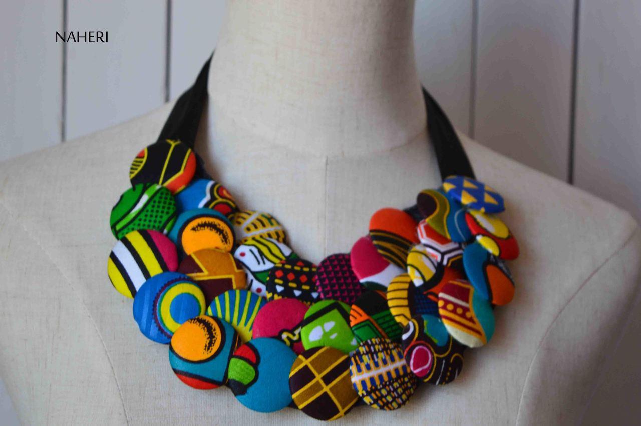 African Print Fabric Bib Necklace Buttons Naheri