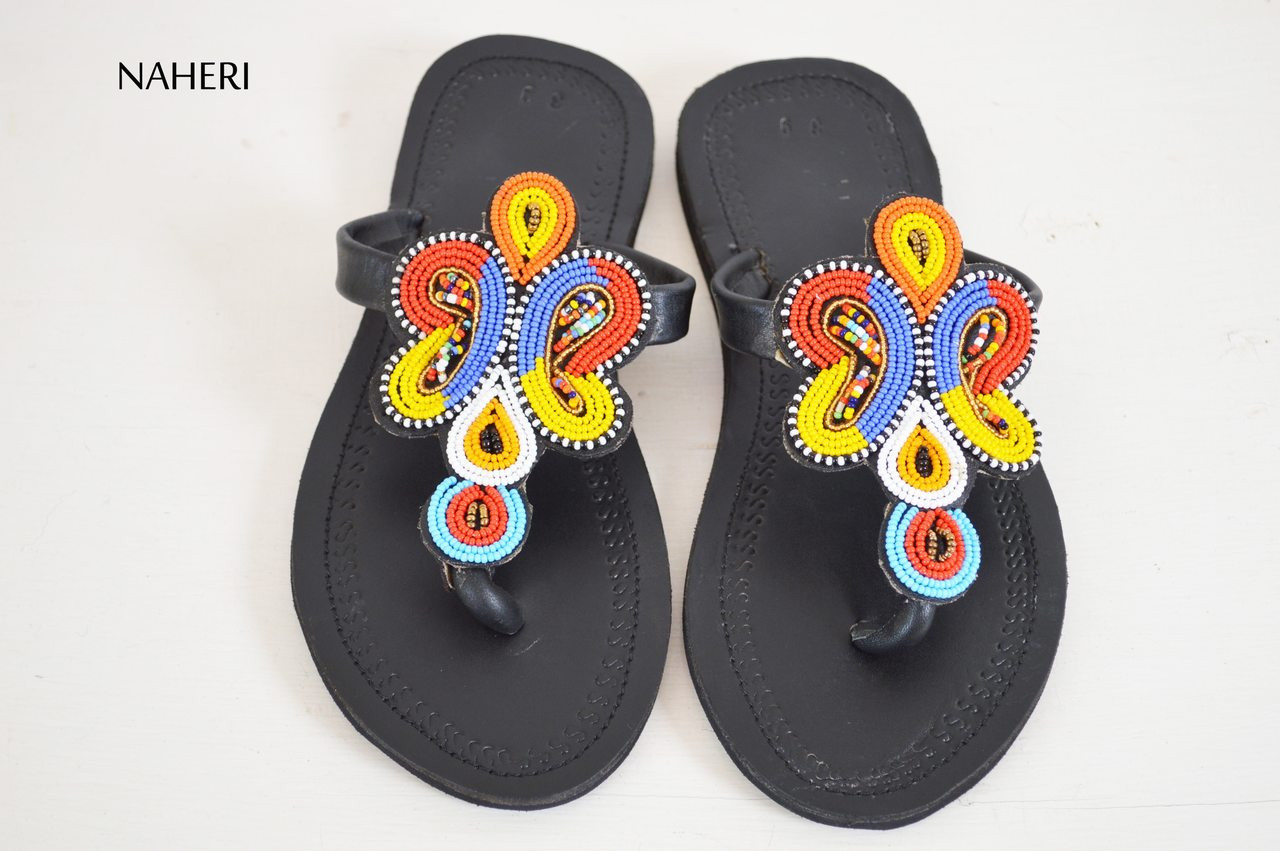 fd7bf0cfb8bd4 Beaded African inspired handmade leather sandals - NELIMA