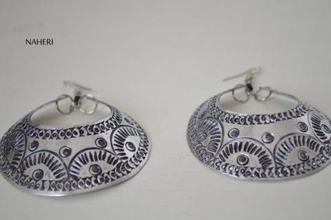 African inspired silver hoop earrings