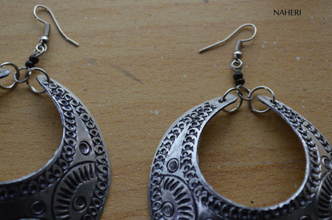 African inspired silver hoop earrings