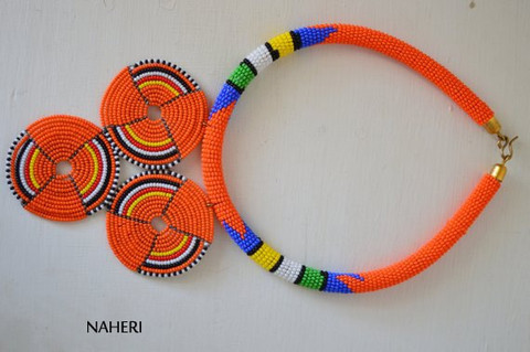 African inspired orange tribal necklace