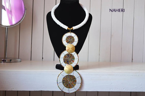 African tiered pendant necklace white with brass