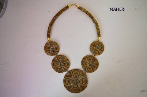 African beaded Necklace 5 circles copper