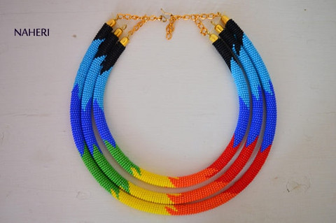African tribal zulu and maasai beaded necklace 3-in-1