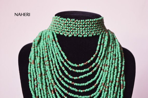 Green Infinity  African Beaded Choker Necklace