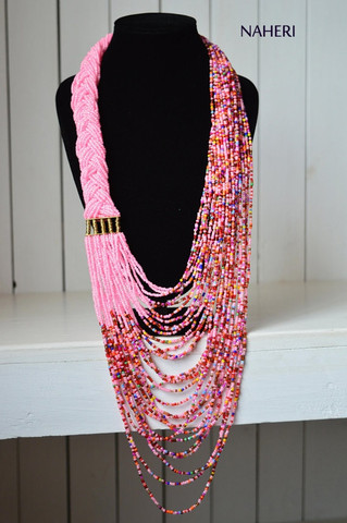Pink African Beaded Maasai Necklace infinity pink