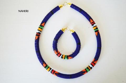 African zulu beaded choker necklace dark blue