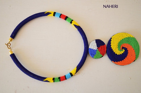 Navy blue African tribal beaded necklace