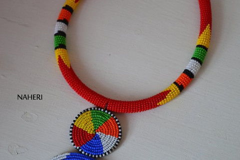 Red African tribal beaded necklace