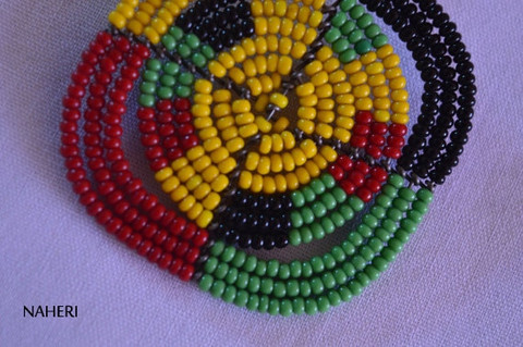 African inspired rasta color beaded earrings