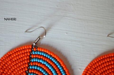 African inspired earrings orange tribal