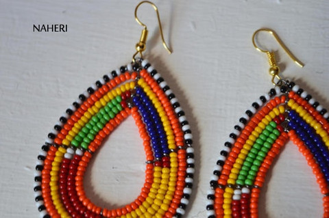 African earrings maasai beaded multicolored