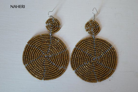 African inspired round earrings copper
