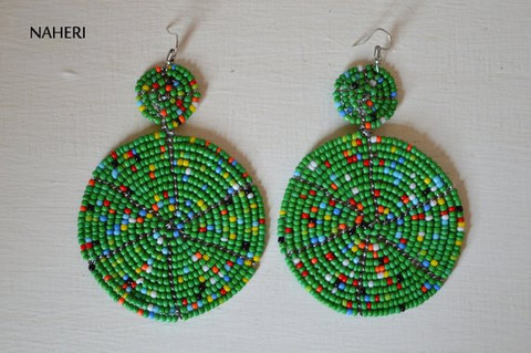 African earrings beaded round green