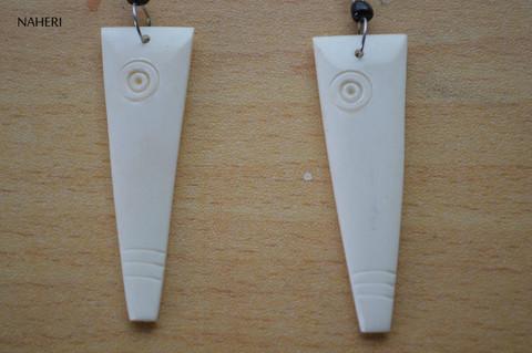 African inspired bone earrings white
