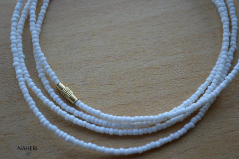 African beaded matt white beaded waist beads