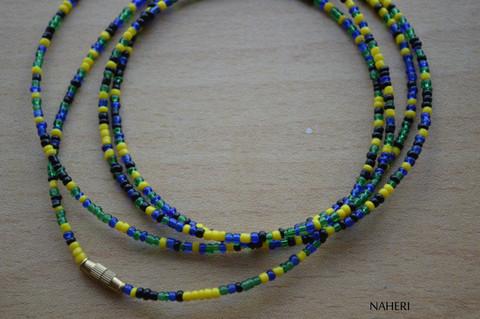 African beaded waist beads black yellow blue green