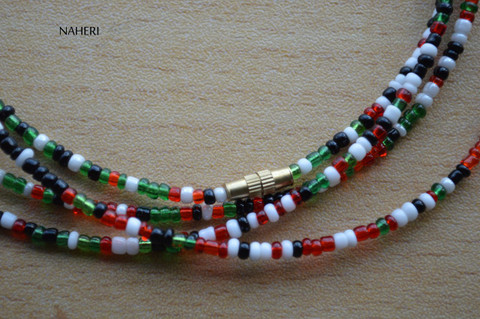 African beaded waist beads multicolored
