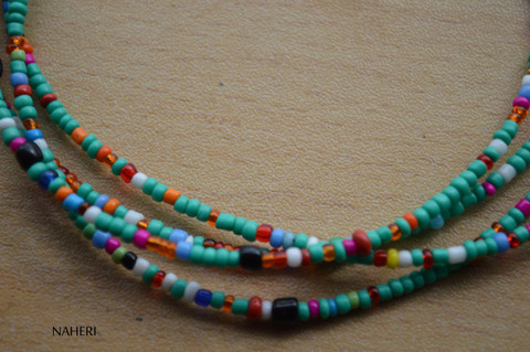 African beaded waist beads turquoise green with mix