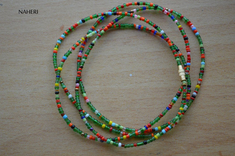 African beaded dark green with color mix waist beads