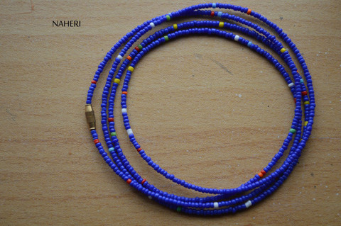African dark blue with mixed color waist beads