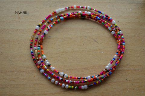 Large white beads with mixed color waist beads