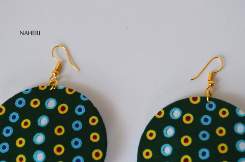 African print fabric round earrings dark green dotted