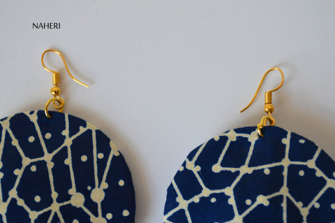 African print fabric round earrings navy blue