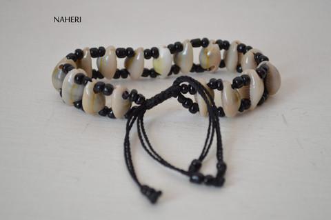 African inspired beaded shell drawstring bracelet