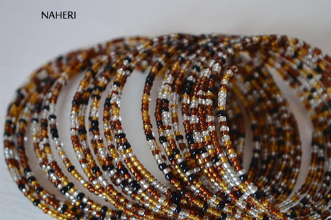 Beaded African spiral coil around bracelets mixed