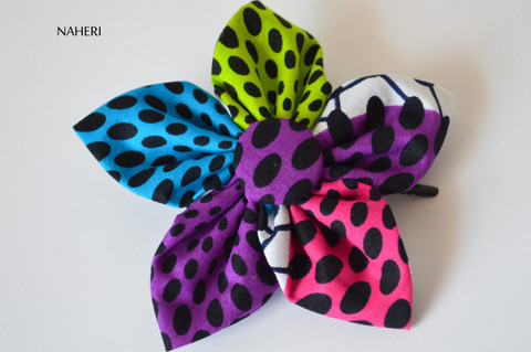 African print star hair clip dotted