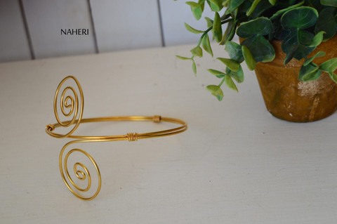 African inspired brass wired armlet