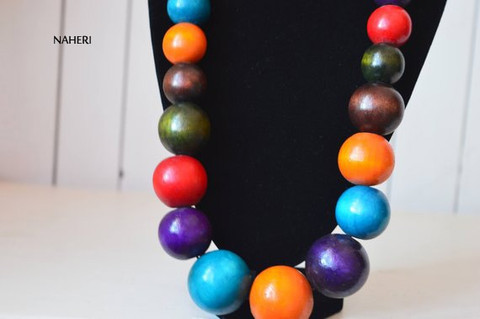 African inspired wooden beads necklace large