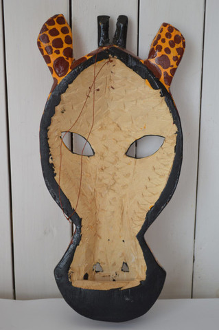African inspired wall hanging mask giraffe