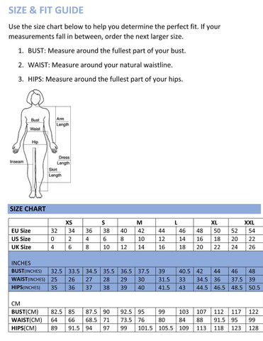 African print record maxi skirt size chart