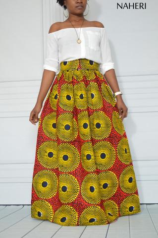 African print maxi skirt record print red ankara fashion