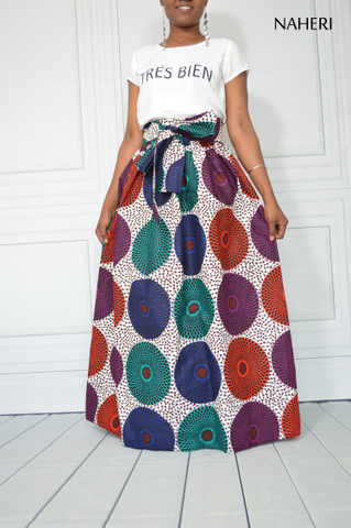 African print skirt - HERI mix record maxi skirt with sash/tie belt