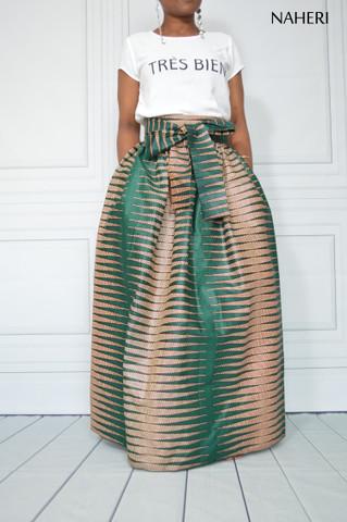 African print maxi skirt dark green pencil tribal long skirt