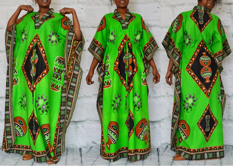 African inspired caftan bold green