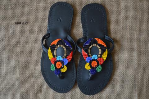 African beaded handmade leather sandals - NIWA