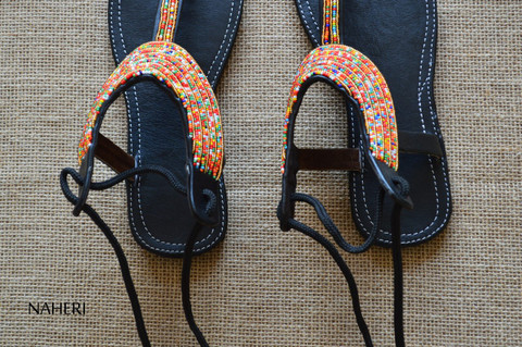 African beaded handmade leather sandals - FANI