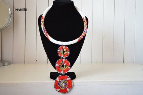Red and white African tribal beaded necklace