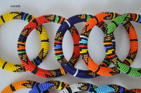 African Zulu beaded tribal bracelets/bangles