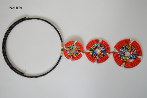 African tribal beaded necklace red