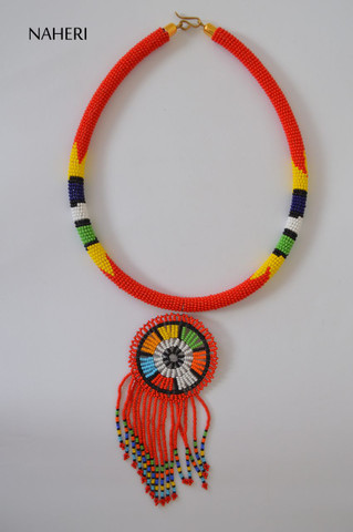 African beaded red necklace with fringe pendant