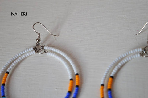 African inspired handmade tribal hoop earrings white