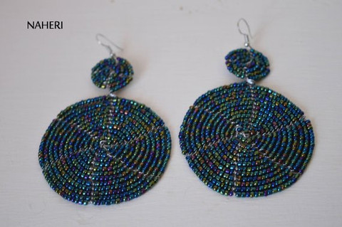 African handmade earrings round and two tiered design