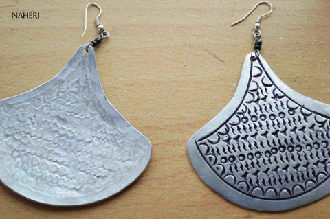 African inspired metal earrings silver large