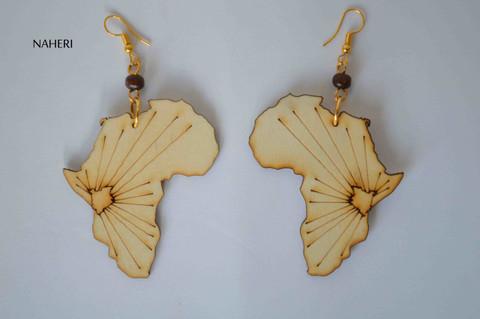African map wood earrings handmade